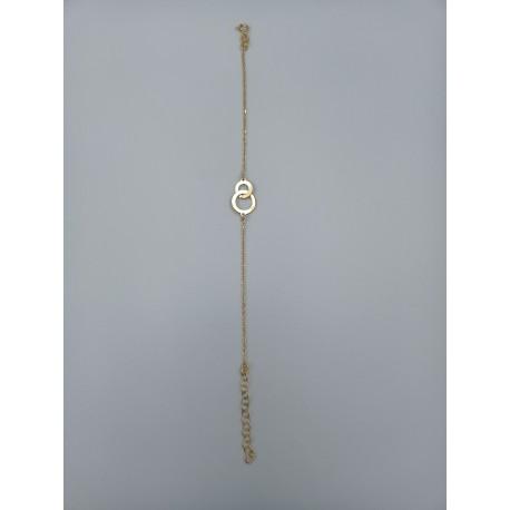 Bransoletka kółka płaskie srebro pozłacane pr.925