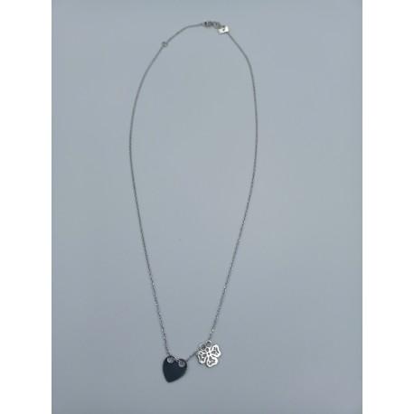 Naszyjnik celebrytka serce i koniczynka ażur srebro pr.925